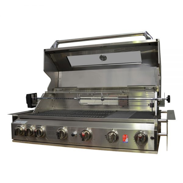 601WB-W Smart 6 Burner Built In BBQ with Hood Open
