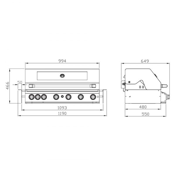 601WB-W Smart 6 Burner Built In BBQ Product Dimensions