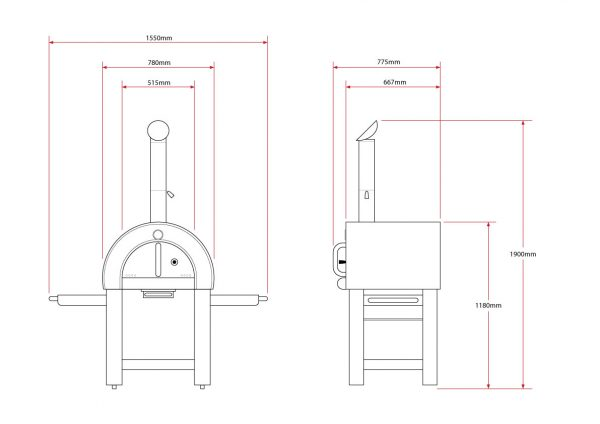 Smart Stainless Steel Wood Fired Pizza Oven - Dimensions
