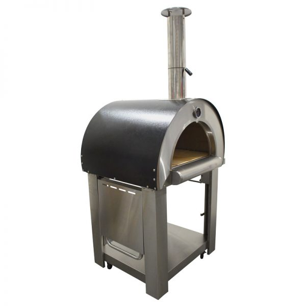 Smart Stainless Steel Woodfired Pizza Oven - Front/Side View