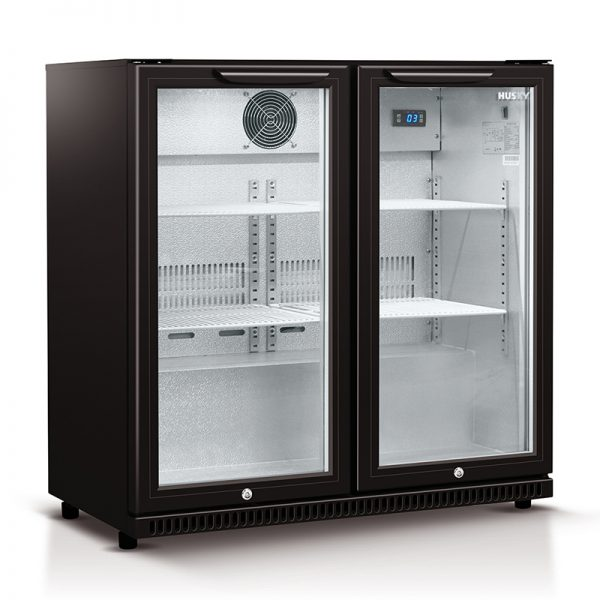 HUS-C2-840-BLK - Husky Double Glass Door Bar Fridge in Black